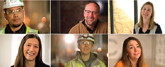 Grid of 3 across, 2 down, of smiling men and women who work at Mortenson